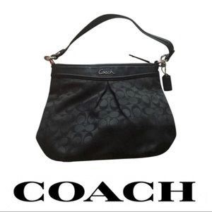 Coach Ashley Hippie F20111 Blk Canvas Leather bag